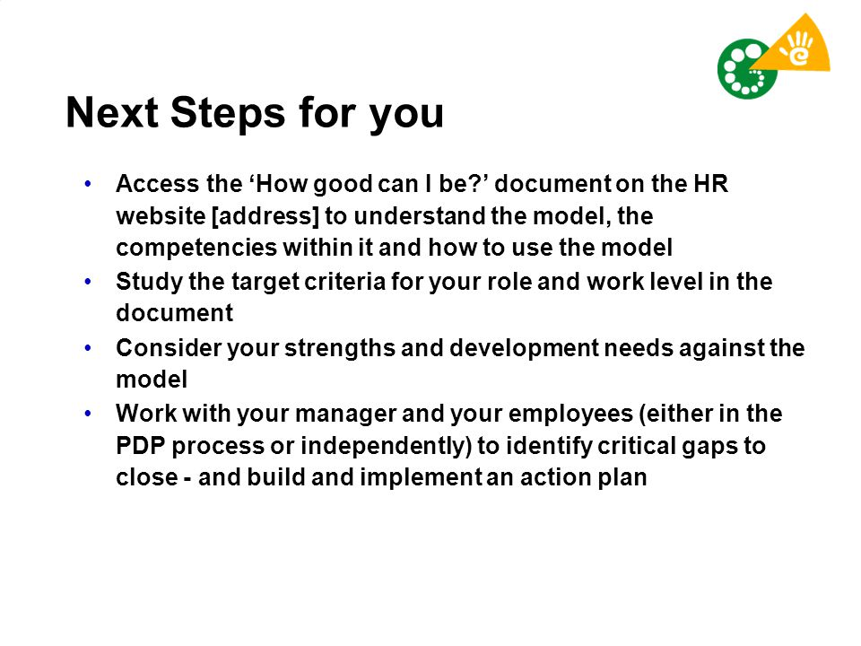Next Steps for you