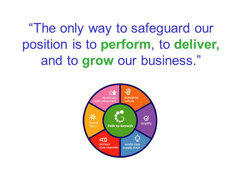 The only way to safeguard our position is to perform, to deliver, and to grow our business.