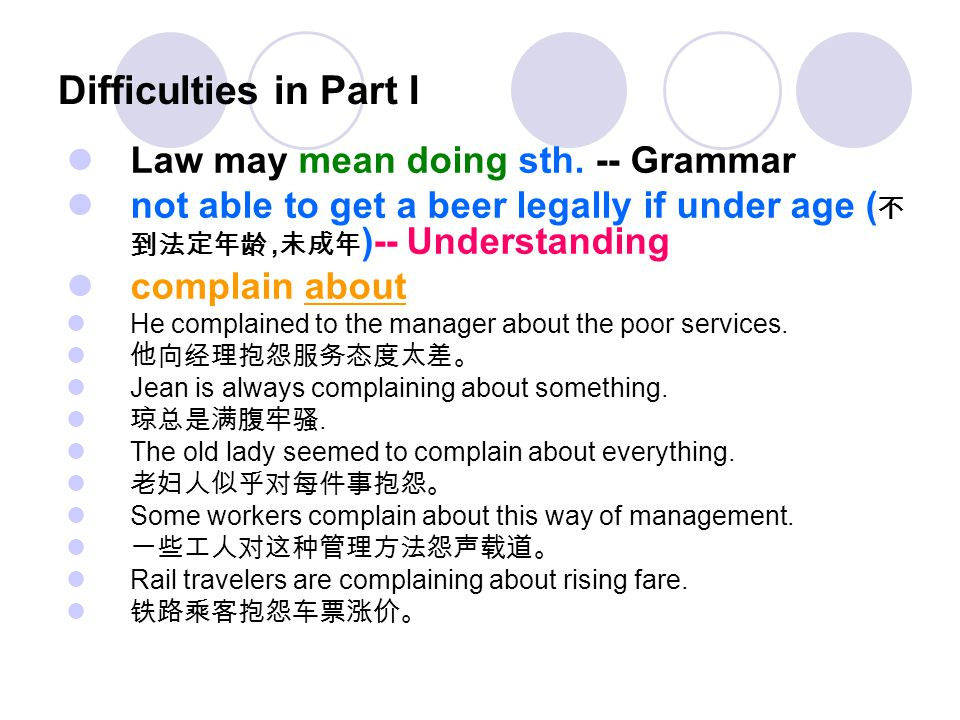 Difficulties in Part I Law may mean doing sth. -- Grammar