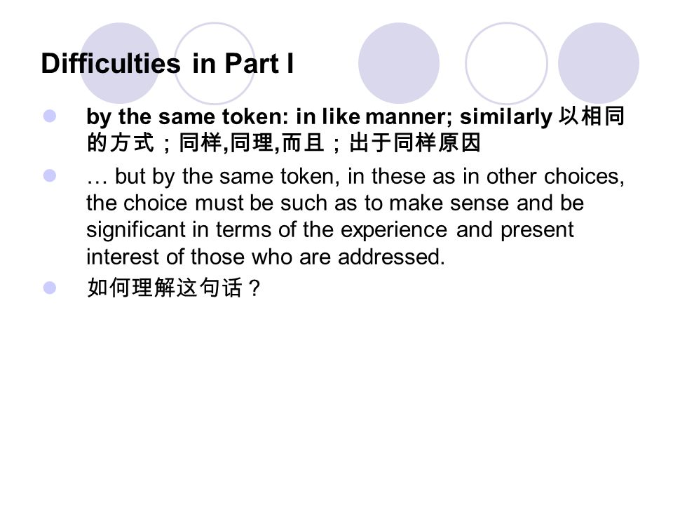 Difficulties in Part I by the same token: in like manner; similarly 以相同的方式;同样,同理,而且;出于同样原因.