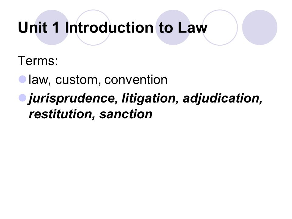 Unit 1 Introduction to Law