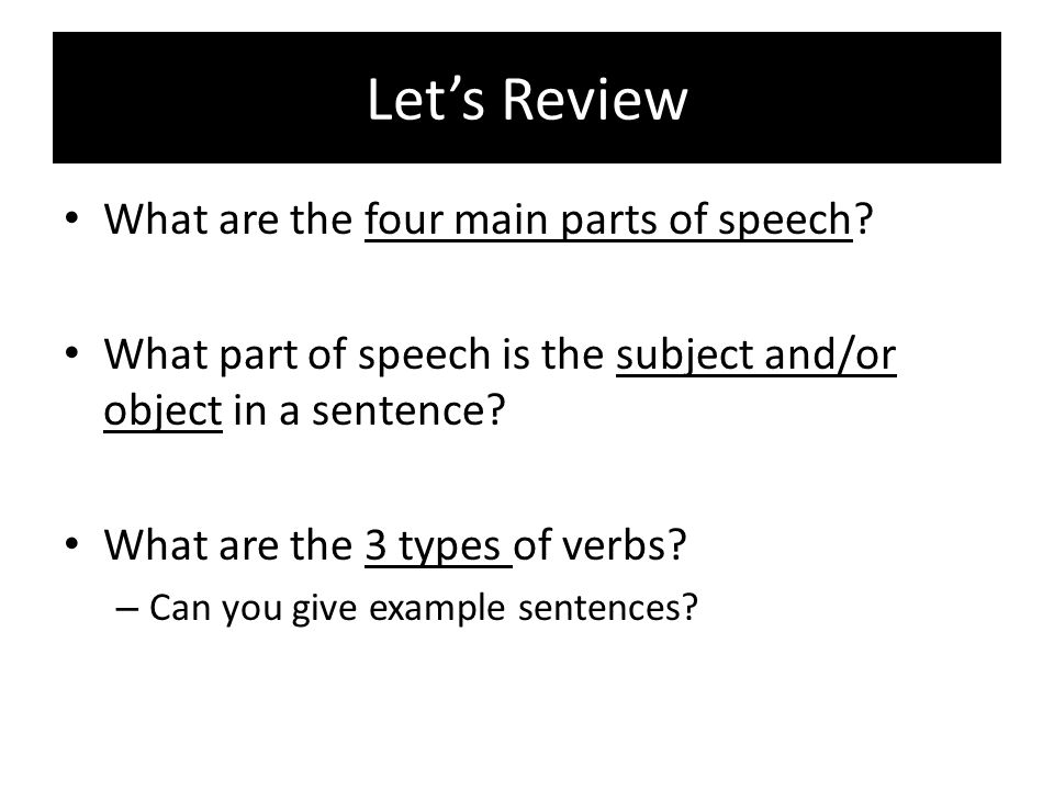 Let's Review What are the four main parts of speech