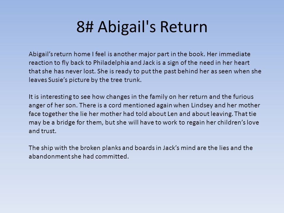 8# Abigail s Return