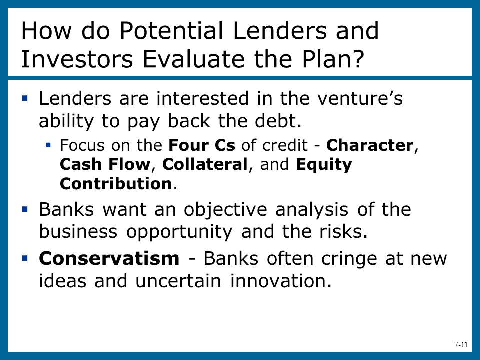 How do Potential Lenders and Investors Evaluate the Plan