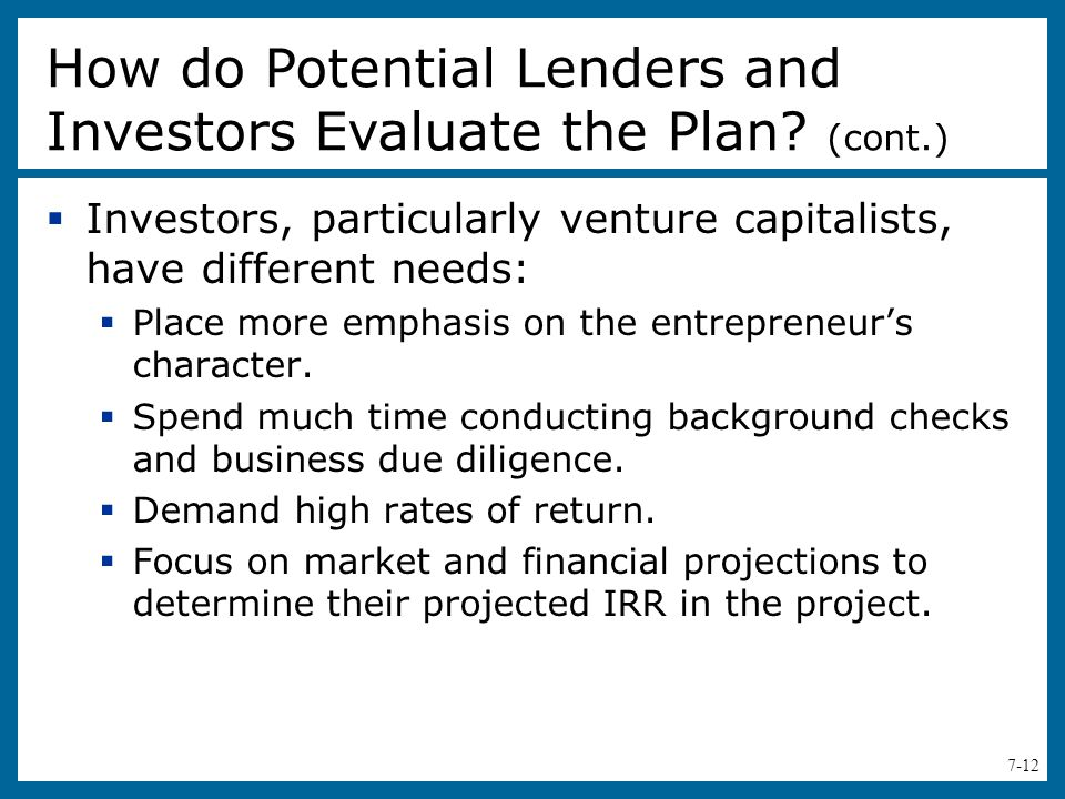 How do Potential Lenders and Investors Evaluate the Plan (cont.)