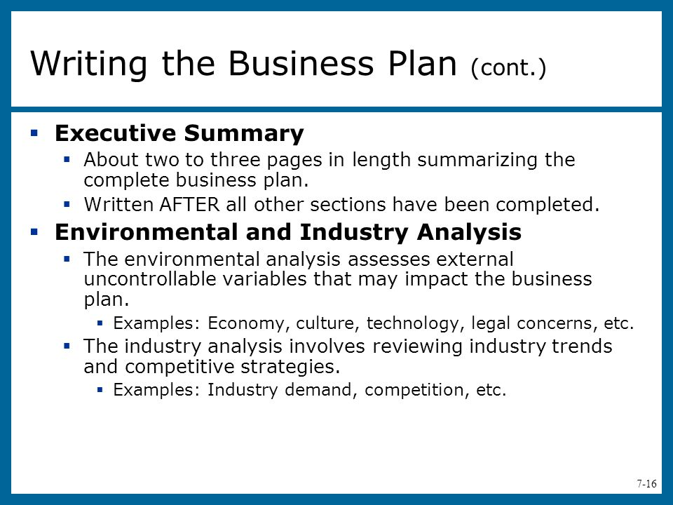 Nature of business example in business plan