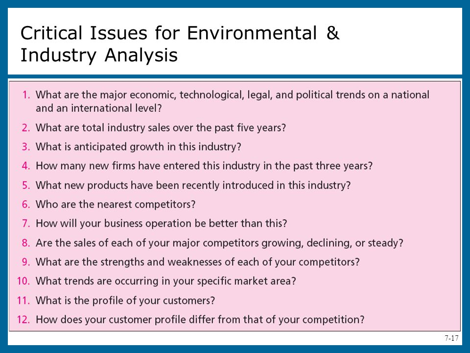 Critical Issues for Environmental & Industry Analysis