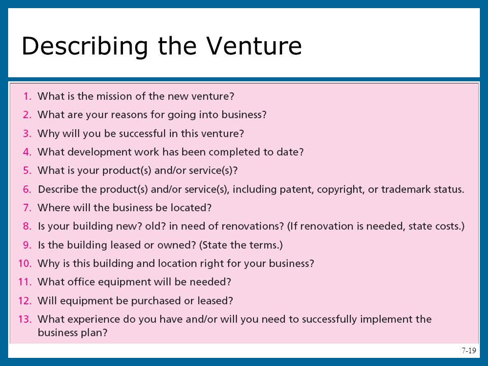 Describing the Venture