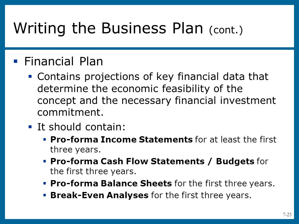 Writing the Business Plan (cont.)