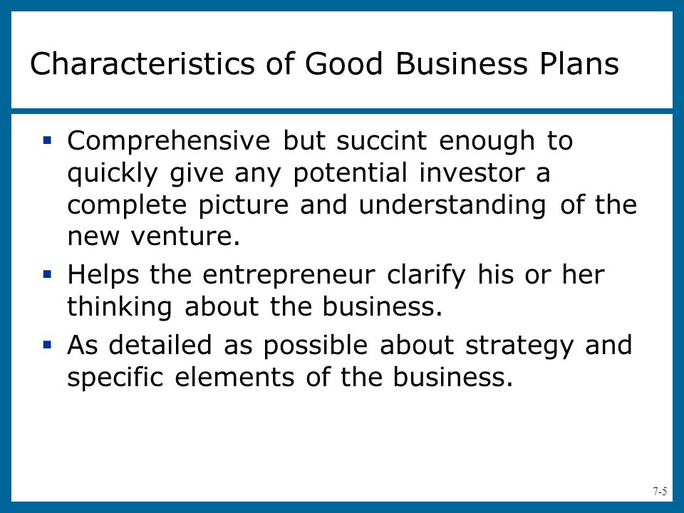 Characteristics of Good Business Plans