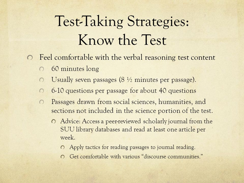 Test-Taking Strategies: Know the Test