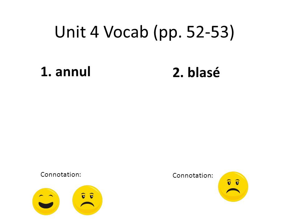 Unit 4 Vocab (pp. 52-53) 1. annul Connotation: 2. blasé Connotation: