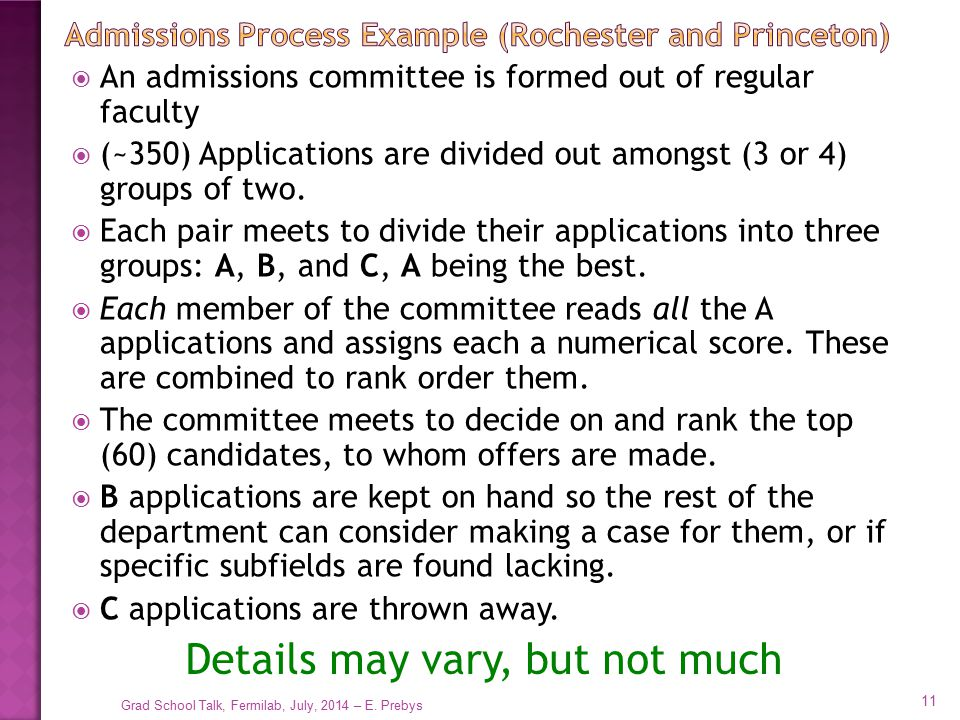 Admissions Process Example (Rochester and Princeton)