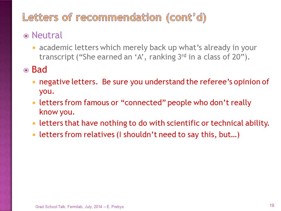 Letters of recommendation (cont'd)