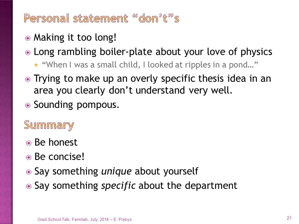 Personal statement don't s