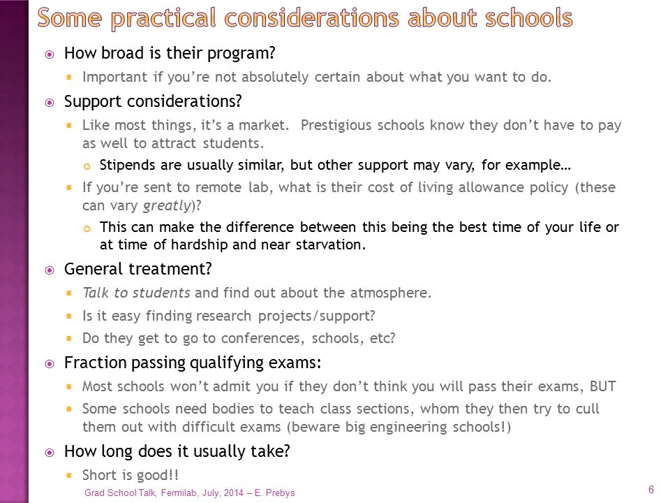 Some practical considerations about schools
