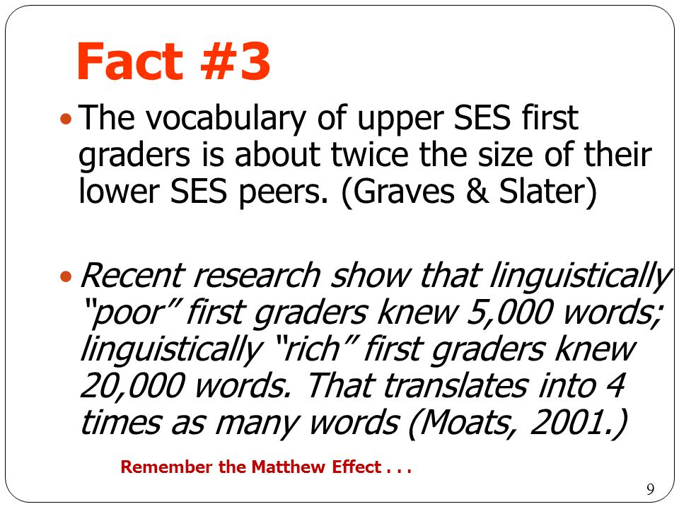 Fact #3 The vocabulary of upper SES first graders is about twice the size of their lower SES peers. (Graves & Slater)
