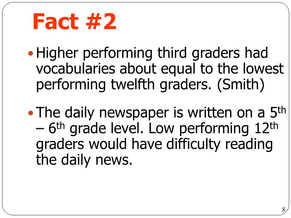 Fact #2 Higher performing third graders had vocabularies about equal to the lowest performing twelfth graders. (Smith)