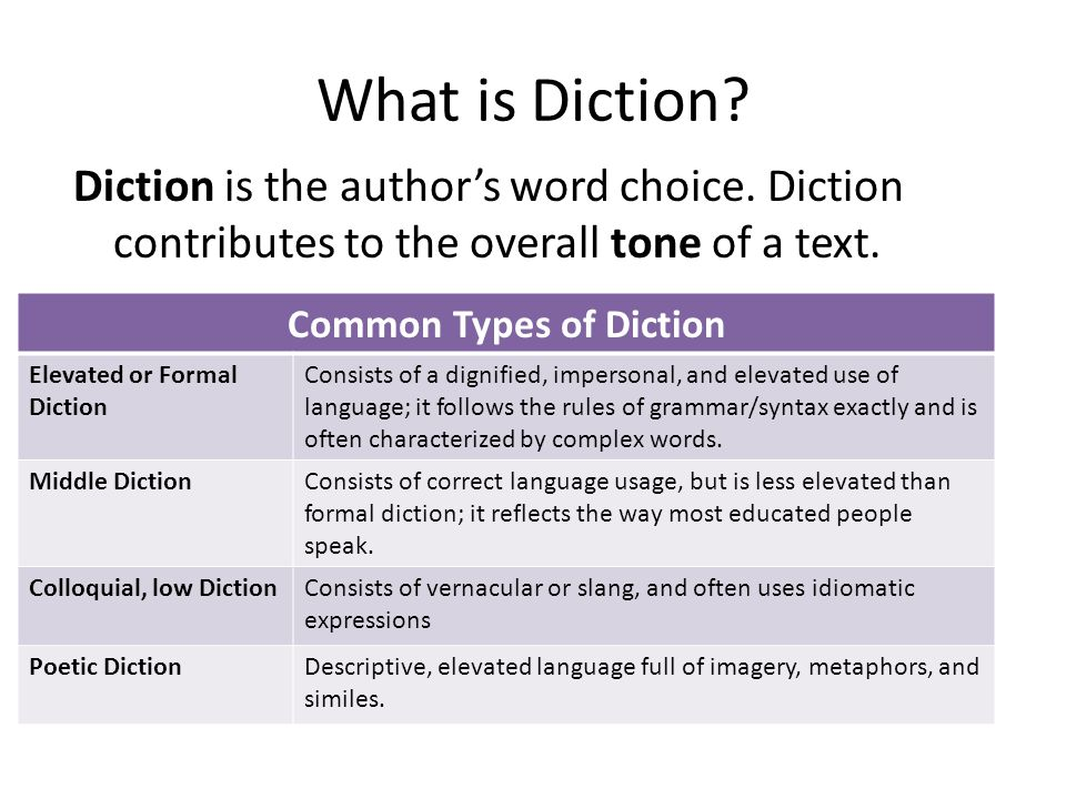 Common Types of Diction