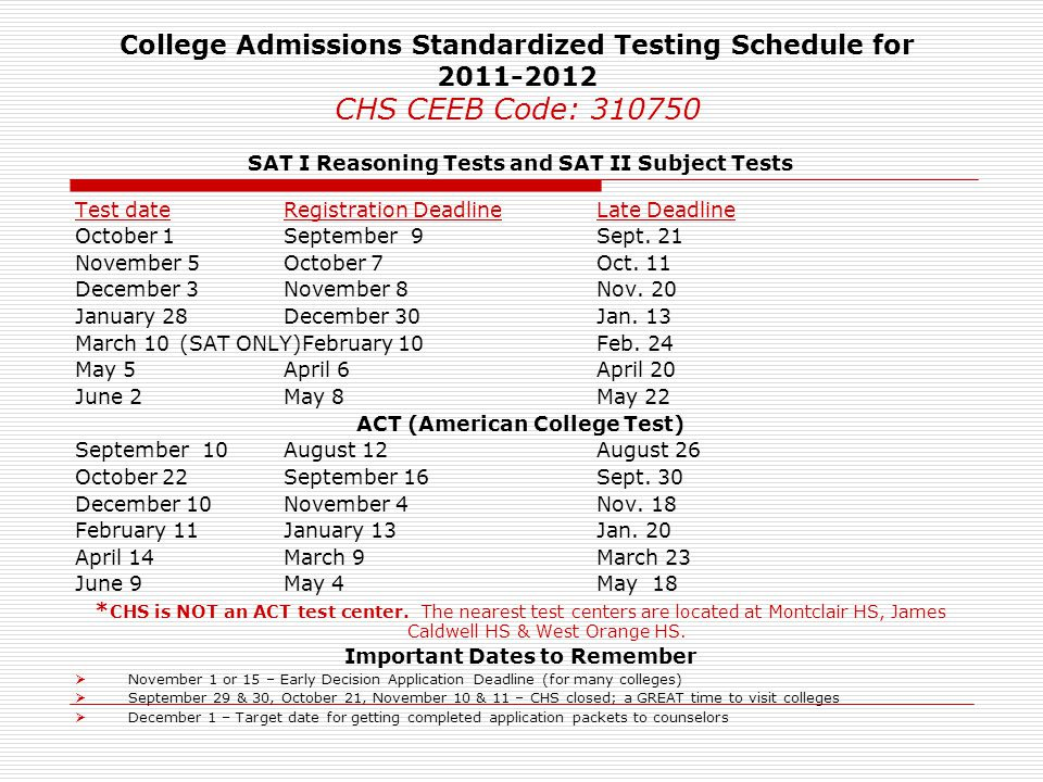 College Admissions Standardized Testing Schedule for 2011-2012 CHS CEEB Code: 310750
