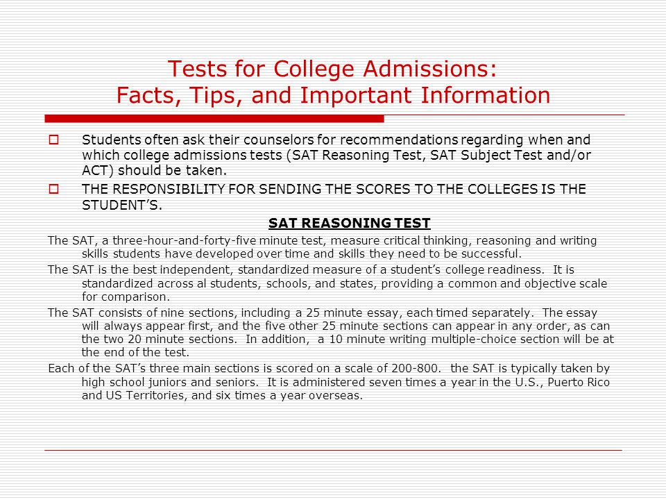 Tests for College Admissions: Facts, Tips, and Important Information