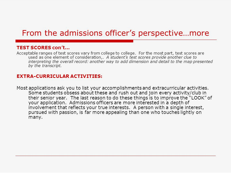 From the admissions officer's perspective…more