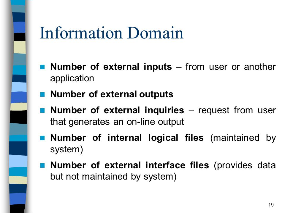 Information Domain Number of external inputs – from user or another application. Number of external outputs.