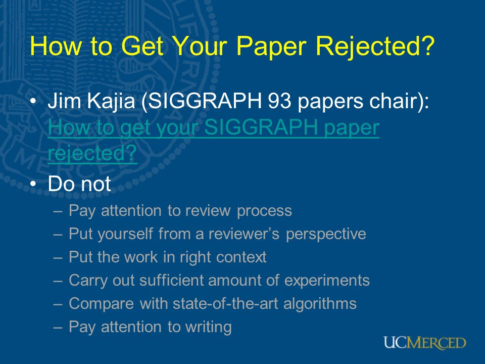 How to Get Your Paper Rejected