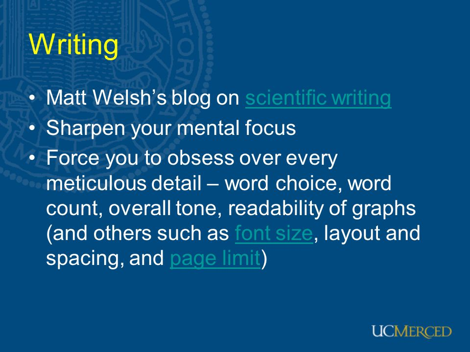 Writing Matt Welsh's blog on scientific writing