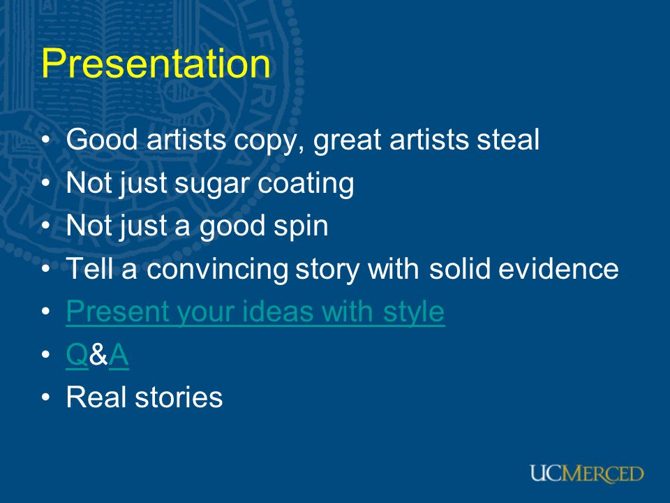 Presentation Good artists copy, great artists steal