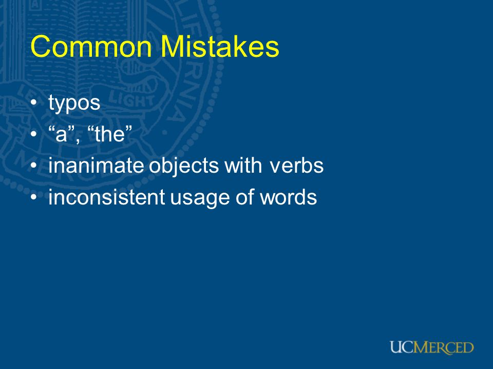 Common Mistakes typos a , the inanimate objects with verbs