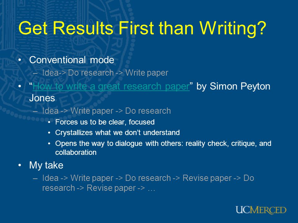 Get Results First than Writing