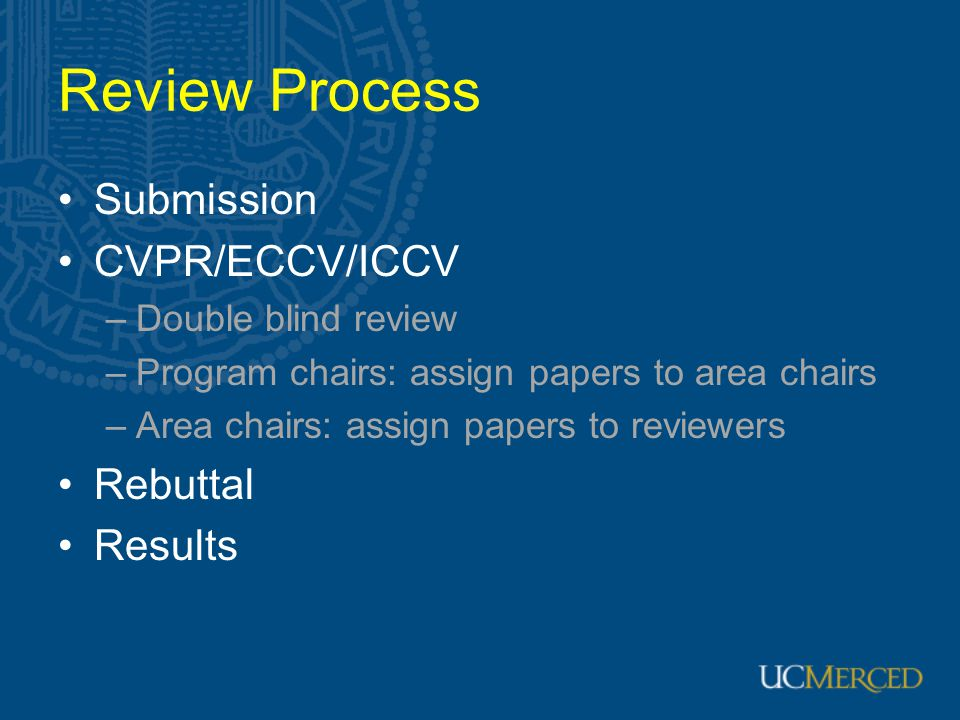 Review Process Submission CVPR/ECCV/ICCV Rebuttal Results