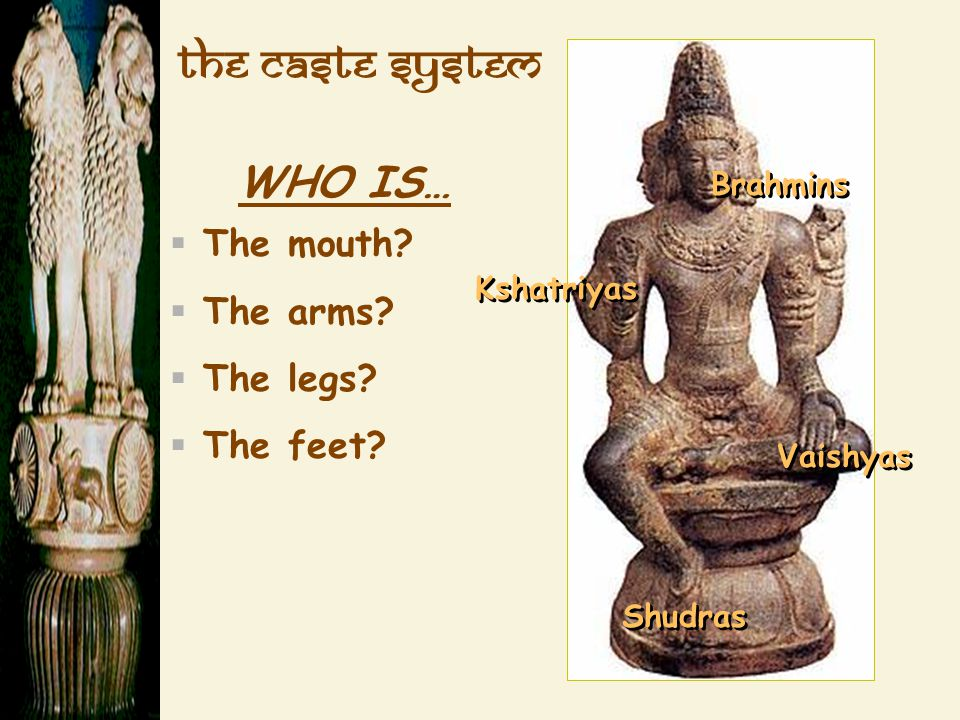 The Caste System WHO IS… The mouth The arms The legs The feet