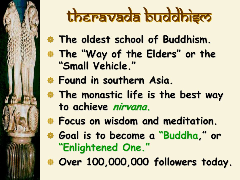 Theravada Buddhism The oldest school of Buddhism.