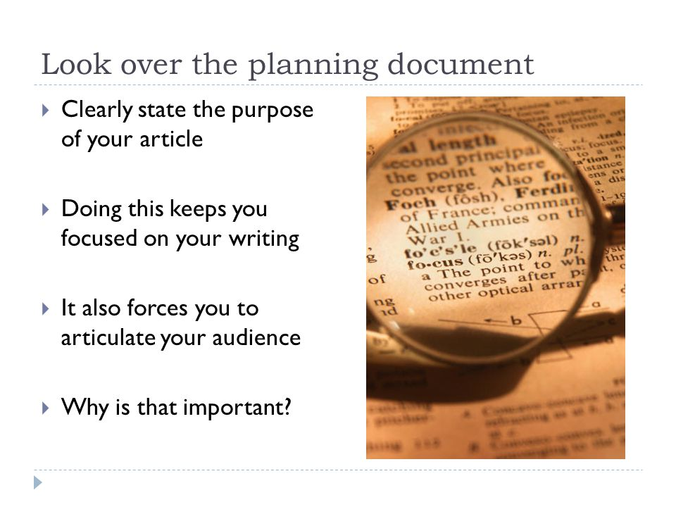Look over the planning document