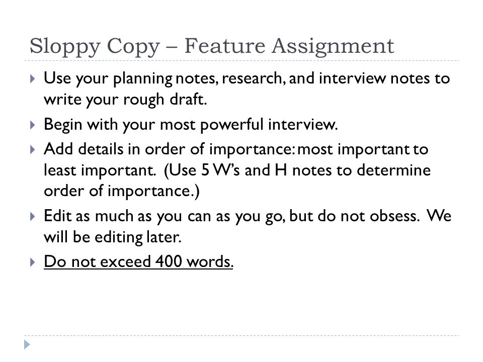 Sloppy Copy – Feature Assignment