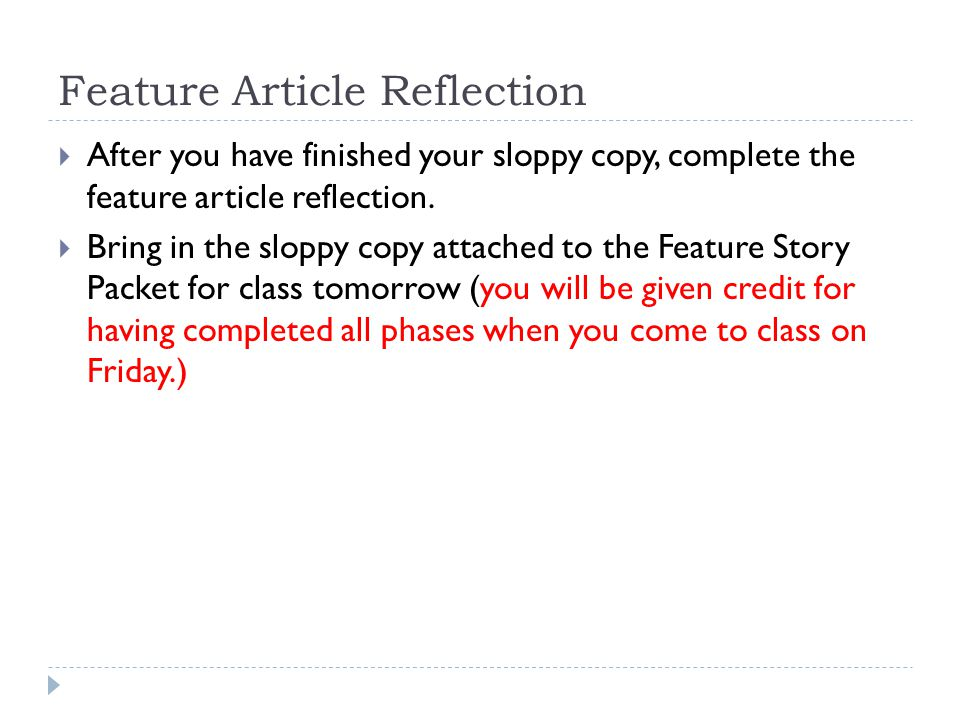 Feature Article Reflection