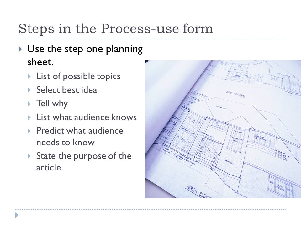 Steps in the Process-use form