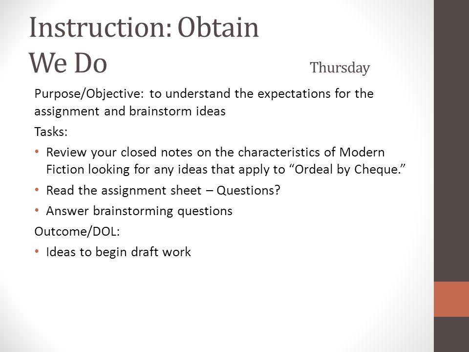 Instruction: Obtain We Do Thursday