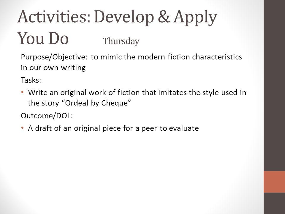 Activities: Develop & Apply You Do Thursday