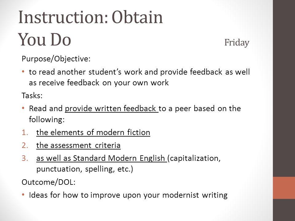 Instruction: Obtain You Do Friday