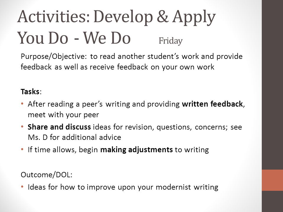 Activities: Develop & Apply You Do - We Do Friday