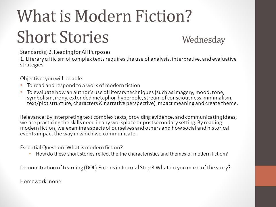 What is Modern Fiction Short Stories Wednesday