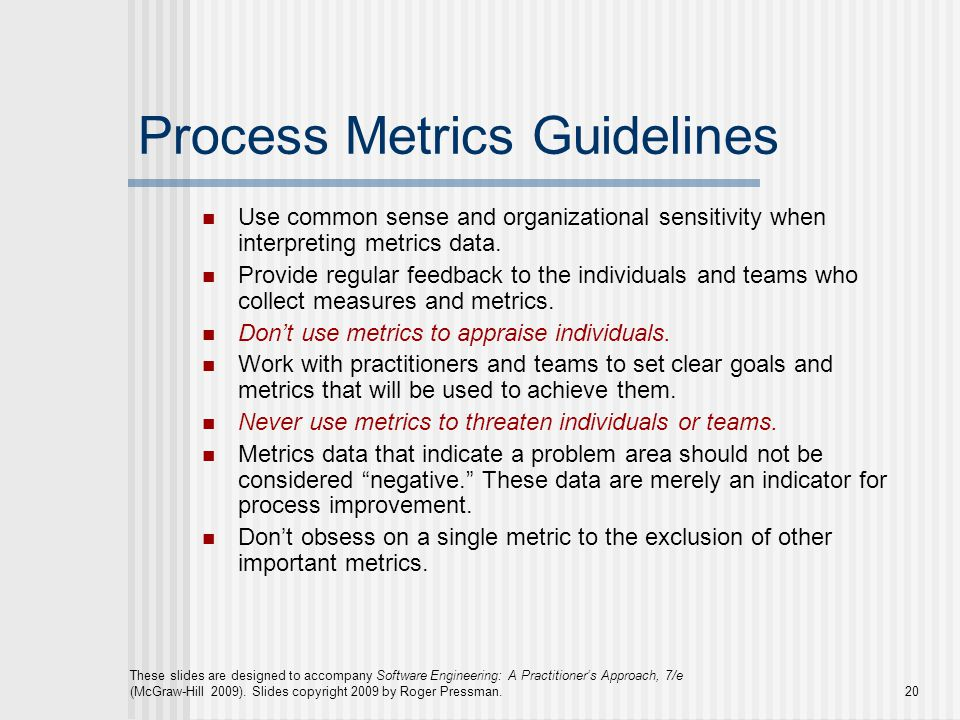 Process Metrics Guidelines
