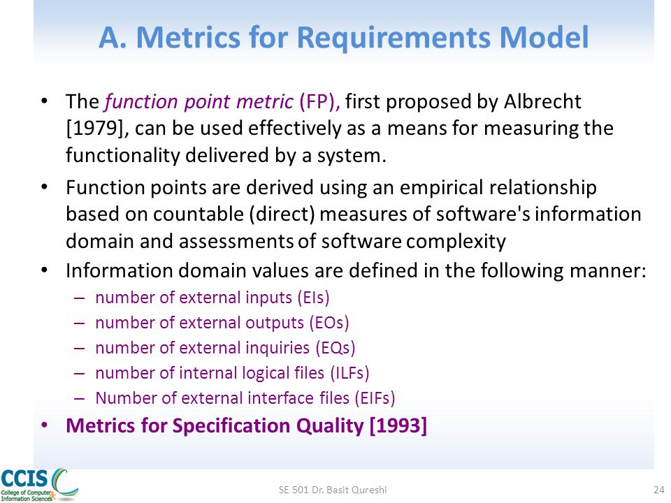 A. Metrics for Requirements Model