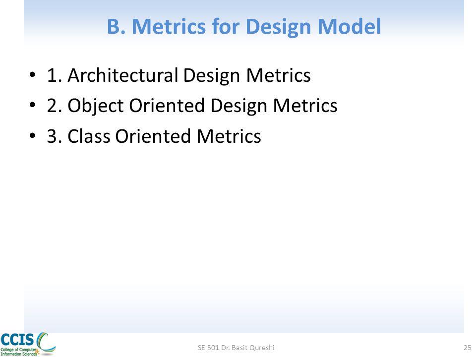 B. Metrics for Design Model