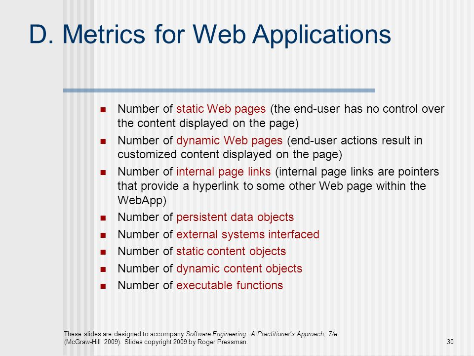 D. Metrics for Web Applications