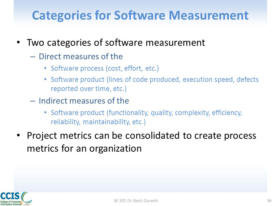 Categories for Software Measurement