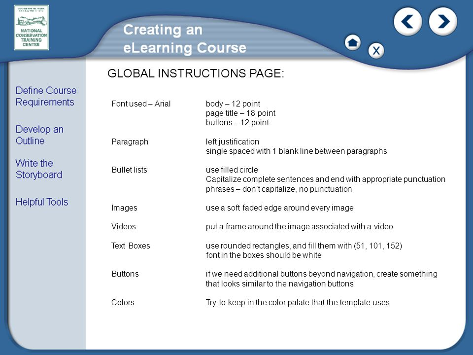 GLOBAL INSTRUCTIONS PAGE: